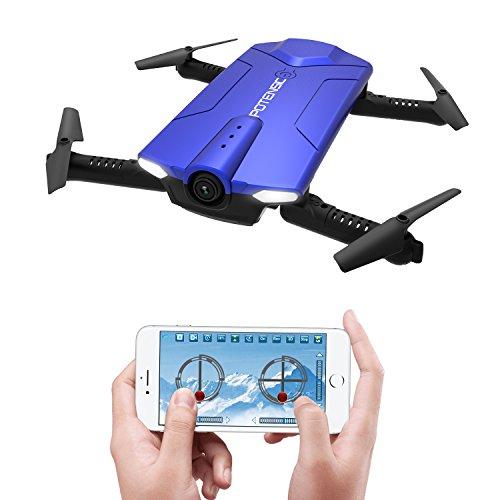 Potensic Drone Pieghevole e Portatile con Wifi Telecamera 720P, Drone Controllato Direttamente con APP del Cellulare senza Telecomando-Blu