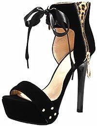 YE Frauen Offener Zehe 13 cm High Heels Plattform Stilettos Wildleder  Nubukleder Ankle Wrap Leoparden Schnüren… cd59cb496a