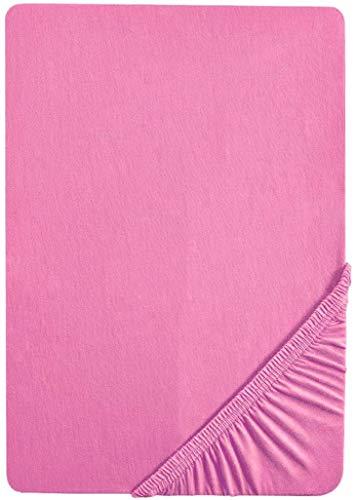 biberna 77155 Jersey-Stretch Spannbetttuch, nach Öko-Tex Standard 100, ca. 90 x 190 cm bis 100 x 200 cm, pink
