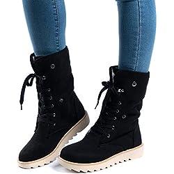Botas de Nieve Mujer Invierno Forradas Calientes Planos Fur Calentar Caña Altas Piel Antideslizante Cálidas Botines Snow Boots Casual Negro 37