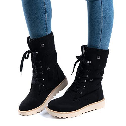 Botas de Nieve Mujer Invierno Forradas Calientes Planos Fur Calentar Caña Altas Piel Antideslizante Cálidas Botines Snow Boots Casual Negro 38