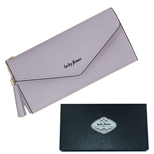 Lucky Flower Travel Wallet Passport Halter, Leder Kreditkarte Halter Kupplung Geldbörse mit Reißverschluss Tasche. 7.3
