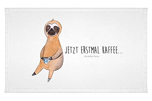 Mr. & Mrs. Panda Gäste Handtuch Faultier Kaffee – 100% handmade in Norddeutschland – Faultier, Faultiere, faul, Lieblingstier, Kaffee, erster Kaffee, Morgenmuffel, Frühaufsteher, Kaffeetasse, Genießer Gästehandtuch, Handtuch, Handtücher