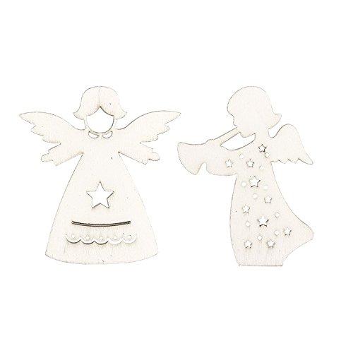 Engel aus Holz, weiß, 2 Designs, 24 Stück   Dekoration für Weihnachten, Advent, Winter, Weihnachtsbaum, Tannenbaum, Christbaum   Schutzengel