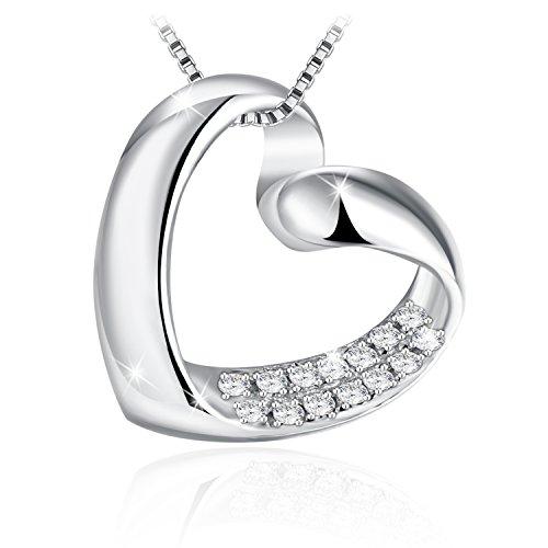 JRose-Collar-Mujer-Plata-de-Ley-925-14-Circonita-Collar-Corazn-Cadena-45cm-50cm-con-Caja-de-Regalo