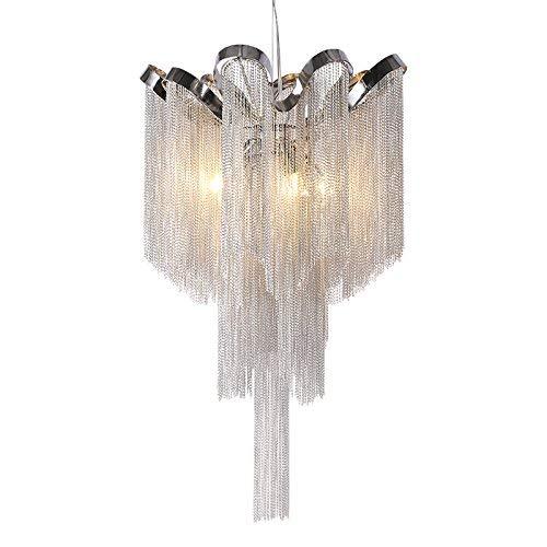 Giow Moderner silberner Quasten-Aluminiumketten-Leuchter für lebendes Esszimmerhaus Deco
