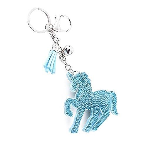 HENGSONG Lac Bleu Tassel Unicorn Pendentif Sac Voiture Porte-clés Foret à Main de Flanelle Keychain