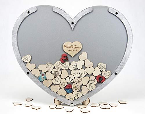 Laserano Edles Hochzeitsgästebuch, Herzform, Silber, Holz Herzchen - Personalisierbar mit Wunschgravur