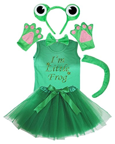 Bow Tie Tank (Petitebelle Frog Headband Paw Bow Tail Shirt Gauze Skirt 6pc Set (3-4 Years))