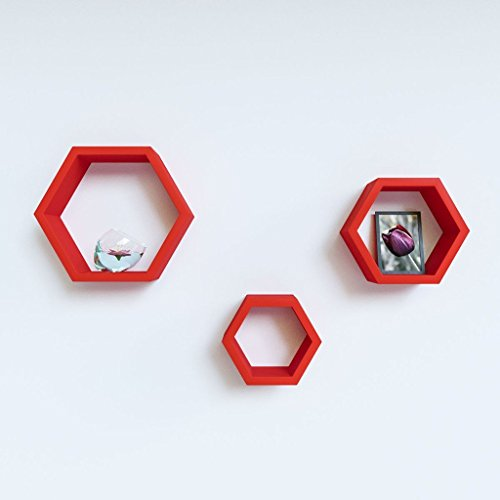 USHA Furniture Wall Shelf Rack Set Of 3 Hexagon Shape -Red  available at amazon for Rs.999