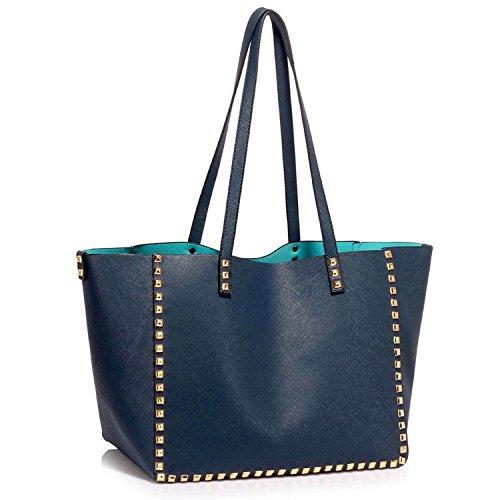 xardi Londres Grand Sac en similicuir doux sacs bandoulière femmes filles Collège Sac à main avec fermeture éclair bleu marine