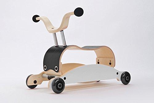 Flip-räder (Unbekannt Wishbone Mini FLIP Mix & Match 3in1 - Laufwagen + Rutschauto + Schaukel in Farbe: Top schwarz + Base weiß + Räder schwarz)