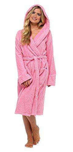 Damen-Bademantel, 100% reine Baumwolle, Luxus-Frottee-Bademantel mit Gürtel und Taschen, Nachtwäsche für Damen und Mädchen Gr. S, Pink - Hooded Reine Baumwolle, Frottee-bademantel