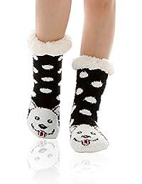 WOTENCE Womens Soft Warm Fuzzy Lined Cute Animal Winter Home Slipper Socks Non Slip Christmas Gift Slipper Socks