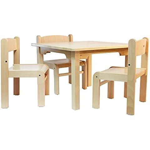 Muebles Para Niños de Madera de La Haya Sólida Natural Barnizada, Conjunto de Cuatro Piezas, Una Mesa y Tres Sillas Sin Apoyabrazos Para Los