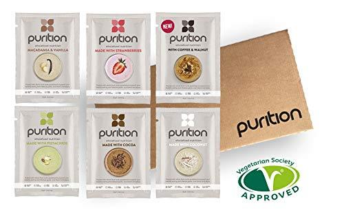 (Purition - Natürliches Protein Pulver und Mahlzeitenersatz, Probierbox mit 6 verschiedenen Geschmacksrichtungen)