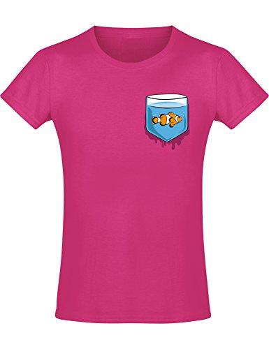 Kinder T-Shirt Mädchen: Fischglas - Kinder T-Shirt Tiere - Lustiges Kinder Shirt - Coole Kinder Kleidung - Tiermotiv Kind - Niedlich Design-er Kindershirt -152, Nr.B0860 (Mädchen-designer-kleidung)