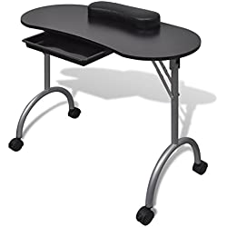 vidaXL Mesa de manicura plegable con ruedas, Negro