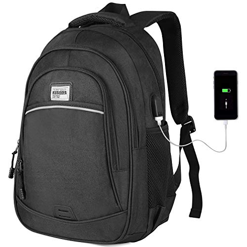Laptop Rucksack,KUSOOFA Schule Rucksack 15,6 Zoll Business Rucksack mit USB-Ladeanschluss,Schulrucksack Laptoprucksack für Herren Jungen(Schwarz) (Tablet Tasche Für Zoll Kinder 6)