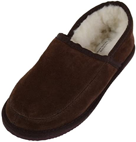 Unisex Suede Full Slipper with Full Wool Lining and Hard