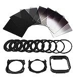 EisEyen - Juego de filtros para fotografía (20 en 1, Filtro ND de 8 ND (ND2 ND4 ND8 ND16, Inclinación ND2 .ND4 .ND8, ND.16) + 9 Anillos adaptadores de Filtro (49-82 mm) + 2 Soportes + 1 Campana