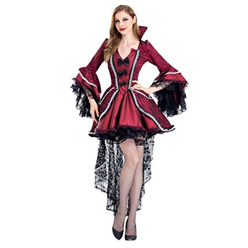 Übergröße Kostüm Hexe Vintage - Cosplay Kostüm Vampir Kleid Halloween Party Vintage Gothic Kleider Spitze Sexy Kleider Damen Retro Hexen Kleider Übergröße S-2XL Gr. L, rot