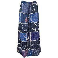 Mogul Interior Women Maxi Skirt Patchwork Rayon Blue Gypsy Chic Flare Flirty Skirts S/M