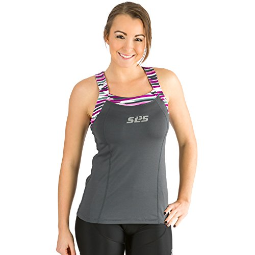 SLS3 Triathlon Damen FRT Tri Top 1 Pocket - Jersey - Singlet - Tank - Tops - super süß und super Passform - deutsches Design, dunkelgrau, Small