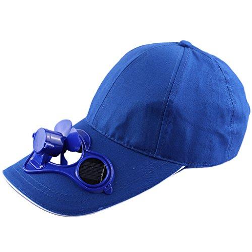 Yiwann Tragbarer Ventilator, solarbetriebener Ventilator, Kühlung, Baseballkappe für Sommer und Sport blau