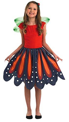 erdbeerloft - Mädchen Karneval Komplett Kostüm Wald Elfe , Mehrfarbig, Größe 140-152, 10-12 (Cinderella Moderne Halloween Kostüm)