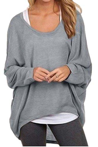 SHUNLIU Damen Lose Asymmetrisch Sweatshirt Pullover Bluse Oberteile Oversized Tops T-shirt Grau