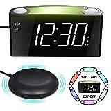 Mesqool Reloj Despertador de vibración Fuerte, Pantalla de 7' LED, luz Nocturna de 7 Colores, Control de Brillo, 3 Niveles de Volumen, 2 Puertos de Carga USB, Reloj Digital...