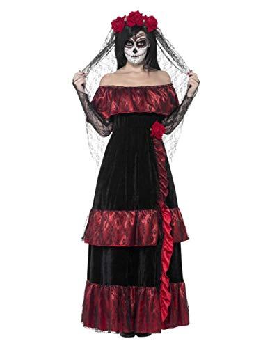 Horror-Shop Day of The Dead Braut Kostüm mit Rosen Schleier für den Tag der Toten S