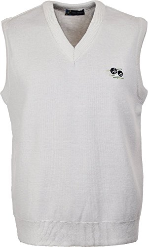 Mens Bowling Tank Top White Sleeveless Jumper with Embroidered Bowlers Bowls Logo (X-Large, White)