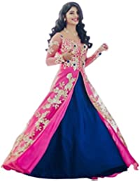 New Latest For Anarkali Style For Party,Wedding Or Festival Wear Indo-Western Wear Salwar Suit/Gown (Blue-Pink...