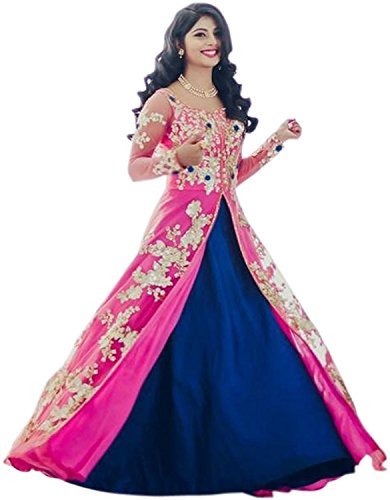 Krisha Creations Women's Silk and Net Embroidered Semi-stitched Lehenga Choli - KC211_Blue_Free...