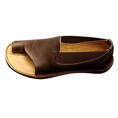 JiaMeng Damen Platform Sandals, Sommer Bequeme Elegante Sandalen Big Toe Hallux Valgus Unterstützung Flach Back-Strap Roma Zehentrenner Hausschuhe Strand Reise Schuhe Back Platform Sandal