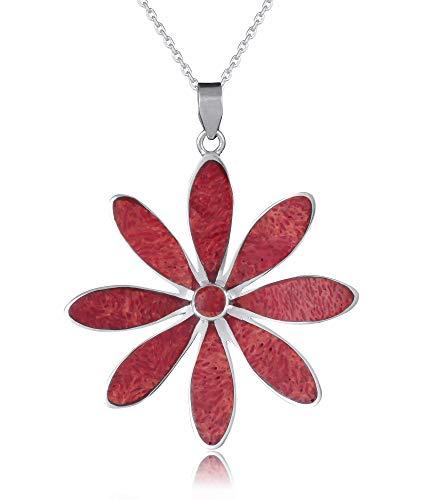 silbernen anhänger-Frauen-Schmuck-Schöpfer-ethnische Art Koralle und Sterling Silber (Rote Koralle Art)
