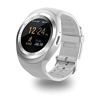 Bluetooth smart watch Zkcreation smart watch, classic IPS round touch screen waterproof smartphone with SIM card, fitness tracker, pedometer compatible with Android phone and IOS (White)