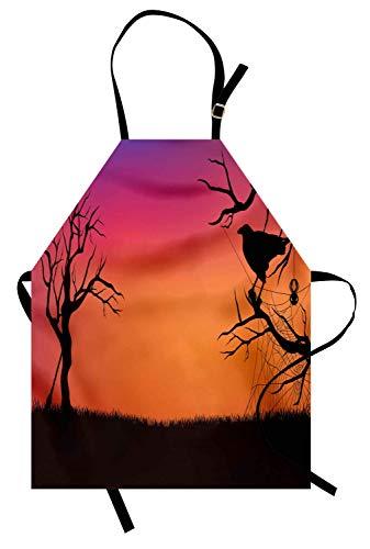 (Krähen-Schürze, Halloween-Abend-Silhouette-Abbildung-beängstigende Landschafts-Besen-Spinnennetz und -bäume, unisexküchen-Schürze mit justierbarem Hals für das Kochen Backen im Garten arbeiten, mehrfa)