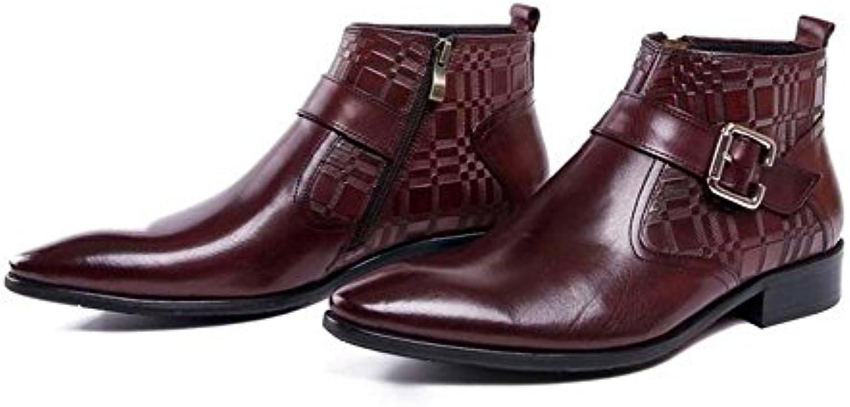 GLSHI Herren Business Stiefeletten Wies europäische Version des Reinen Leders Single Boots Lederschuhe