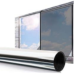 ESSORT Film Miroir Fenêtre Protection de Solaire Film Réfléchissant 45 * 200cm Anti 92% UV Film Miroir à Sens Unique Adhésif pour Maison et Bureau Argent