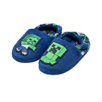 Official Minecraft Creeper vs Zombie Boys Blue Slipper Kids House Shoe