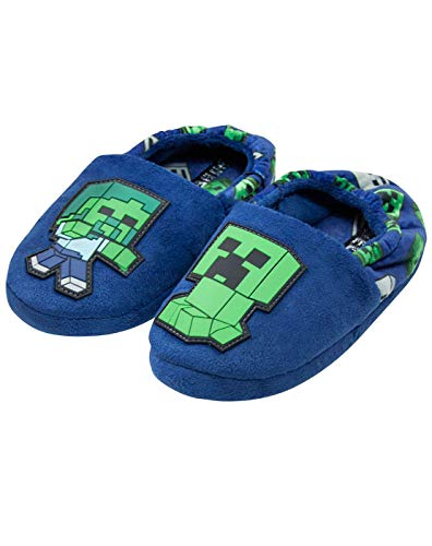 Minecraft Creeper vs Zombie Boys Blue Slipper Kinderhausschuh (UK 13 ()