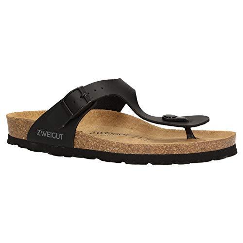 Zweigut® -Hamburg- luftig #555 Damen Zehentrenner Sandalen Schuhe Sommer mit Soft Leder-Komfort-Fußbett, Schuhgröße:38, Farbe:schwarz matt