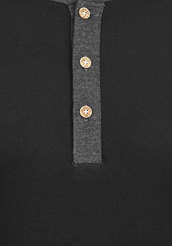 Indicode Winston Herren Longsleeve mit Grandad- Ausschnitt Aus Hochwertiger Baumwollmischung in Melange-Optik Black
