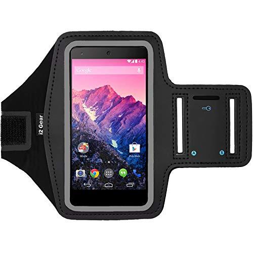 i2 Gear Fitness-Armband zum Laufen - Workout-Telefonhalterung mit verstellbarem Riemen, reflektierende Kanten - Armband für LG Nexus 5 (Schwarz) (Otterbox Case Nexus 5)
