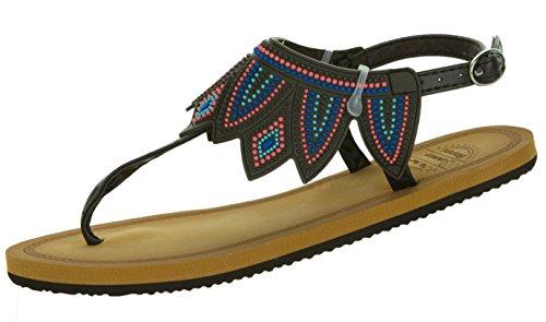 Beppi Zehentrenner Damen Sommer-Schuh | Gummisandalen Sandaletten Urlaubsschuhe | Bequem Modisch Leicht | Größe 39