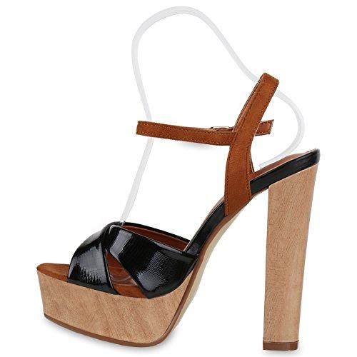 Plateau Braun Damen Blockabsatz High Heels Schuhe Metallic Sandaletten Schwarz 55UrwqBx8