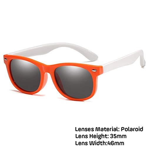 Neue Kinder Polarisierte Sonnenbrille TR90 Jungen Mädchen Sonnenbrille Silikon Schutzbrille Geschenk For Kinder UV400 Brillen (Lenses Color : Orange white)